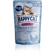 Mačja hrana Happy cat sterilised piščanec in postrv 85g vrečka