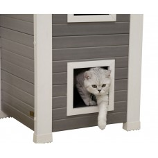 Mačja hišica EKO lesena za 2 maćka